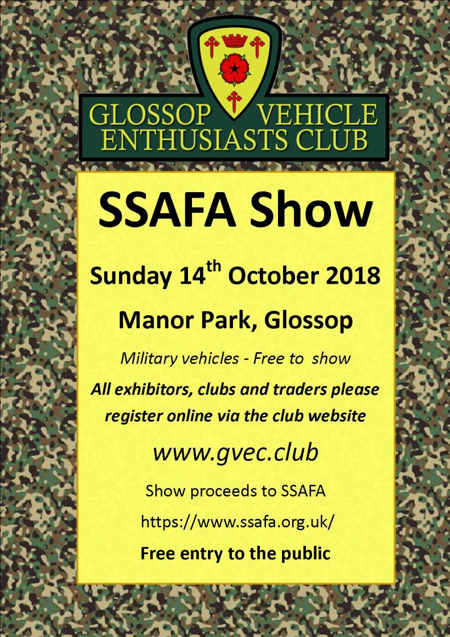 SSAFA GVEC Car Show October 2018 Poster