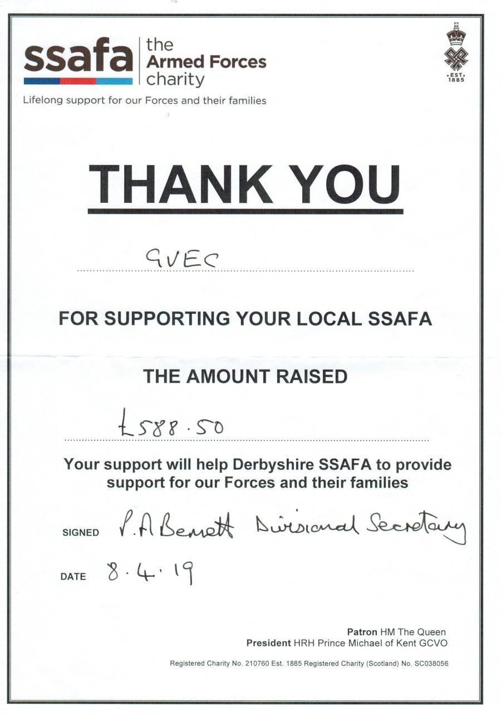 SSAFA thanks